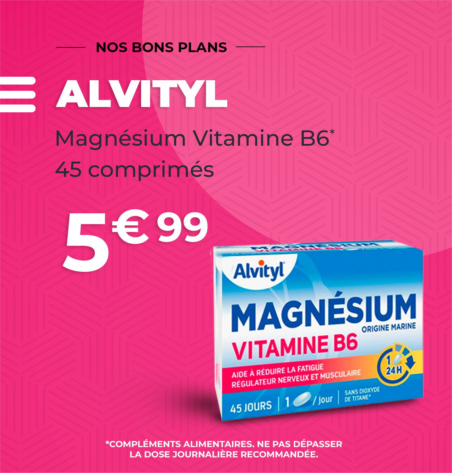 ALVITYL  Magnésium Vitamine B6 - 45 Comprimés